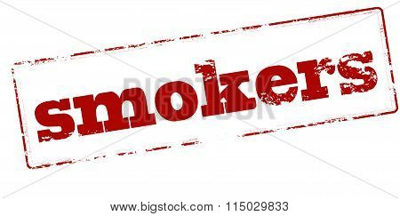 Rubber stamp with word smokers inside vector illustration