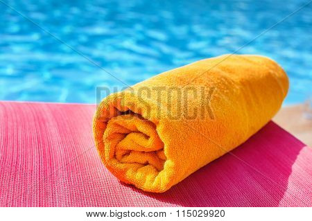 Bright Towel On A Lounger, Vacation
