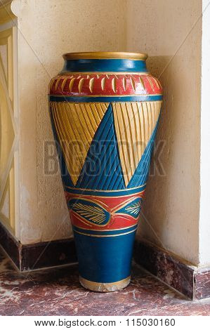 Large Vase From Clay With Ornament