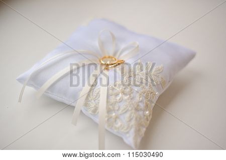 Wedding Cushion With Gold Rings