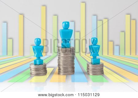 One Male And Two Female Figurines Standing On Piles Of Coins.