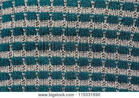 Texture Of Knitted Garments Of Gray And Blue