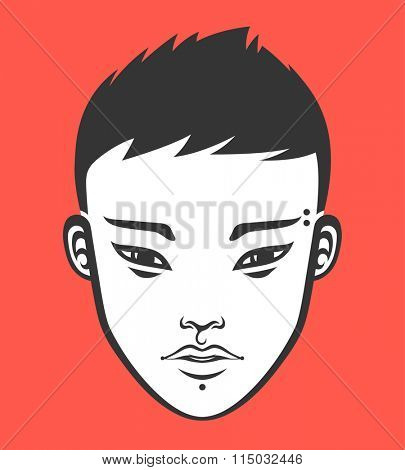 Portrait of a handsome young asian guy. Vector illustration.