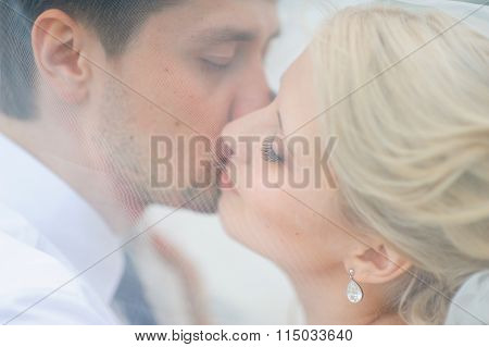 Love The Bride And Groom Are Covered With A Veil And Kiss