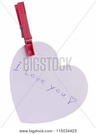 Cardboard heart hanging on clip