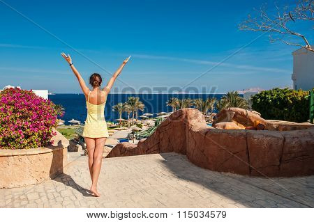 Young Woman Rejoicing Holidays, Summer Vacation In The Sun