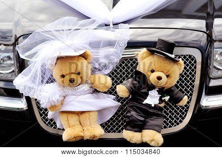 Decoration Bears On Wedding Car