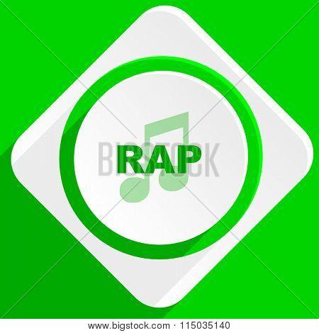 rap music green flat icon