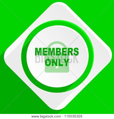 members only green flat icon
