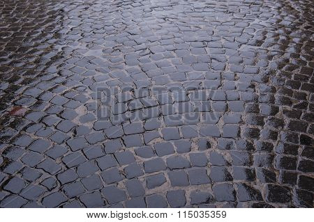 Texture Of Wet Stone Road