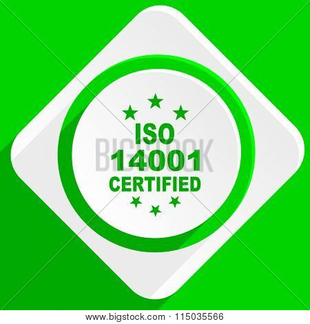 iso 14001 green flat icon