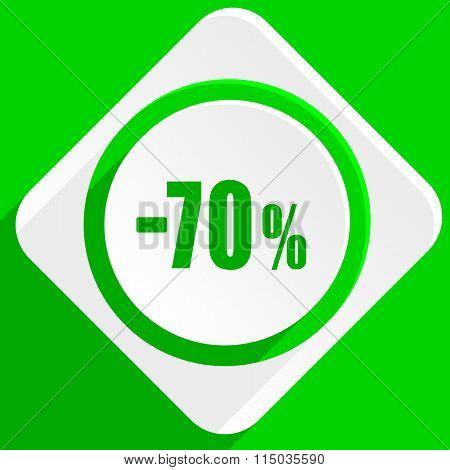 70 percent sale retail green flat icon