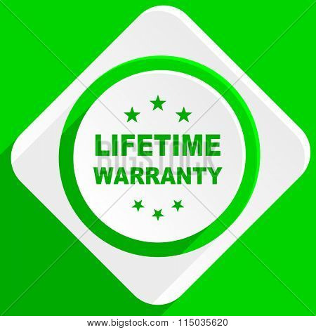 lifetime warranty green flat icon