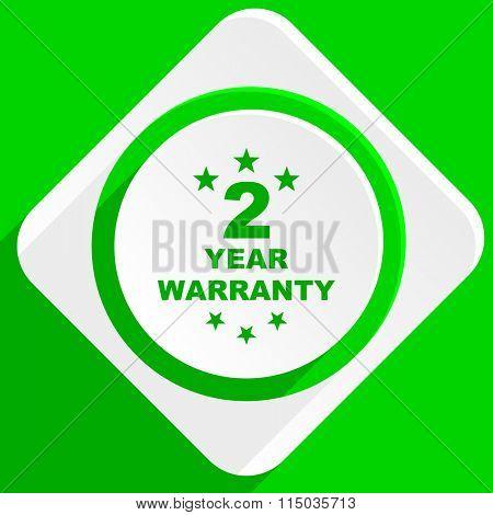 warranty guarantee 2 year green flat icon