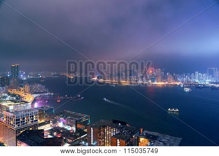 Haze Night Of Hong Kong Victoria Harbor