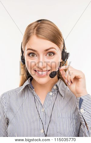 Cheerful Young  Agent Of Call Centre