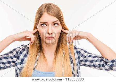Close Up Photo Of  Girl  Closing Her Ears