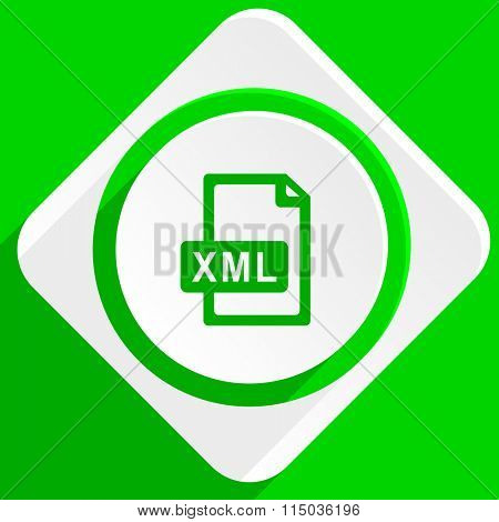 xml file green flat icon