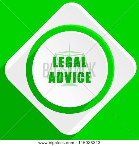 legal advice green flat icon