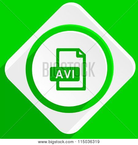 avi file green flat icon