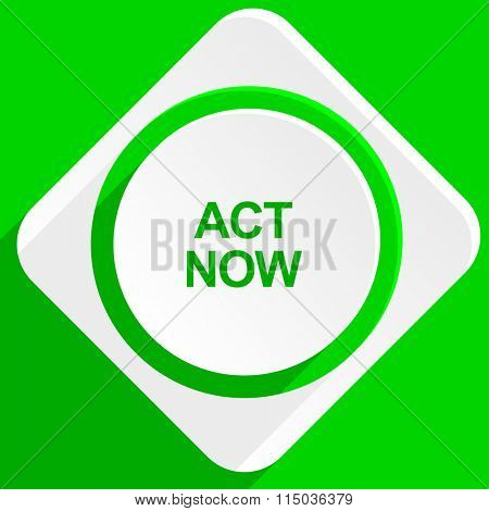 act now green flat icon