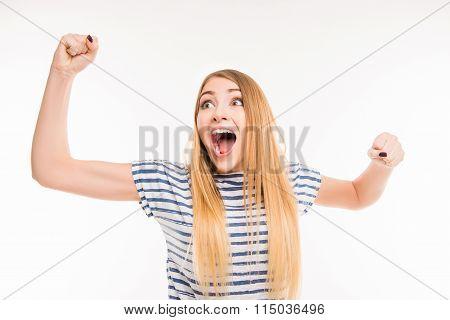 Pretty Girl Celebrates Her Victory