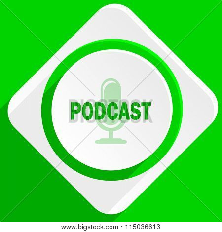 podcast green flat icon