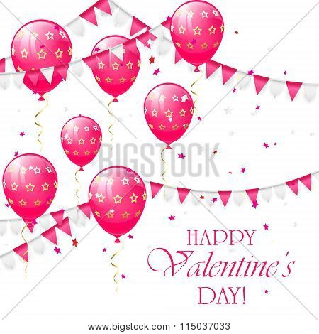 Valentines Background With Balloons And Pennants