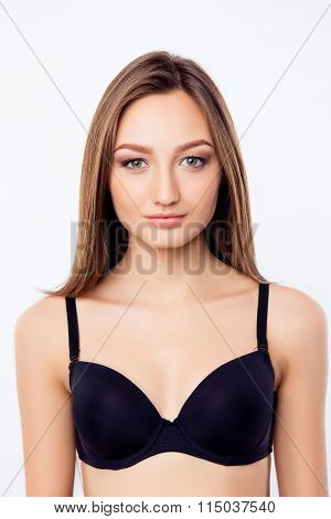 Sexy Young Woman In Black Bra