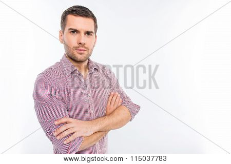 Serious Handsome Man With Crossed Hands