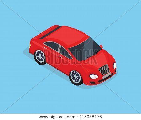 Flat 3d Isometric High Quality Sedan Automobile