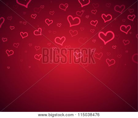 Happy Valentine's Day hearts boke blurred on a red pink background sale card. Vector illustration EP