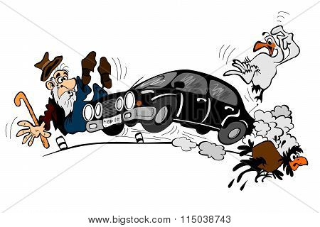 Car At High Speed And An Elderly Man