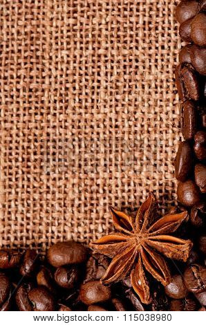 Close-up of coffee beans with spices in burlap sack