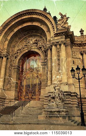 Old Postcard With View At Petit Palais Entrance In Paris