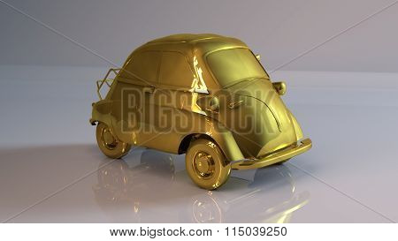 Golden cartoonish Car