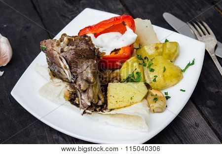 Lamb Loin Chops With Baked Potatoes