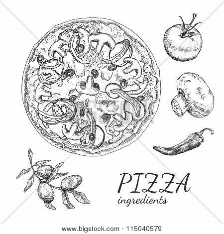 Ink hand drawn pizza ingredient set