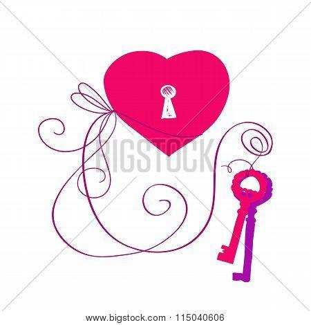 Vector hand drawn key to heart
