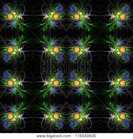 Flower Background In Fractal Design. Blue And Orange Palette. On Black. Computer Generated Graphics.
