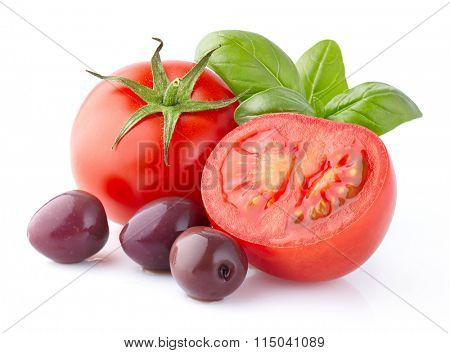 Tomatoes with basil and olives
