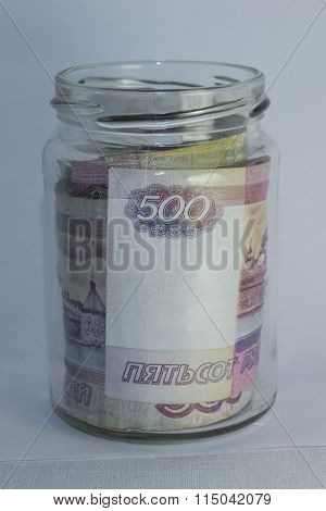 Roubles In A Glass Jar.
