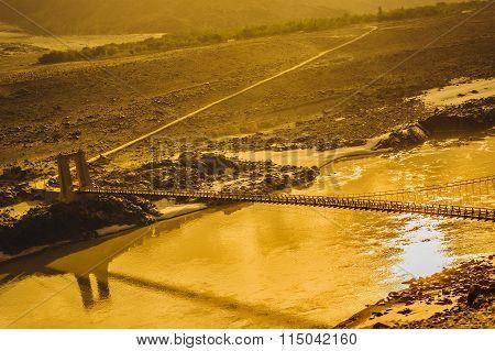 Suspension bridge across the Indus River along the Karakorum Highway