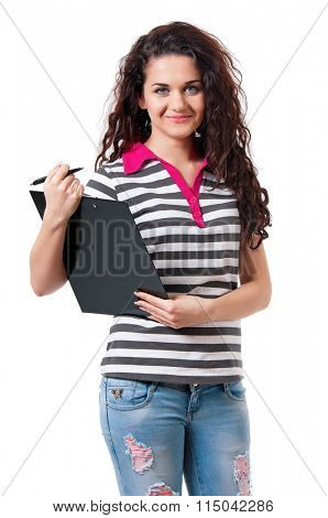 Teen girl holding a clipboard, isolated on white background