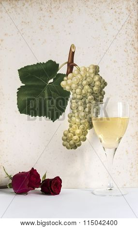 glass of white wine with rose background bunch of grapes