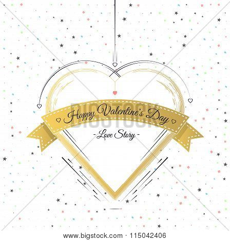 Valentines Day Card Lettering Gold Frame