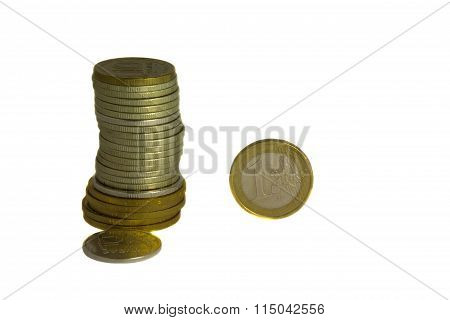 Heap Of Russian Roubles And One Euro Coin.