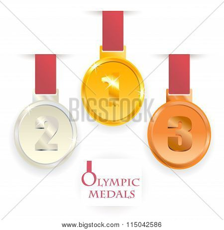 Olympic medals. First, second, third place.