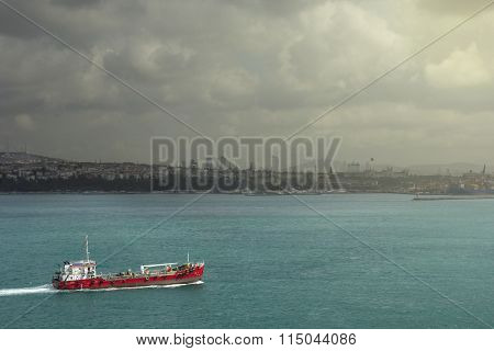 Ship Crossing Bosporus, Istanbul, Turkey