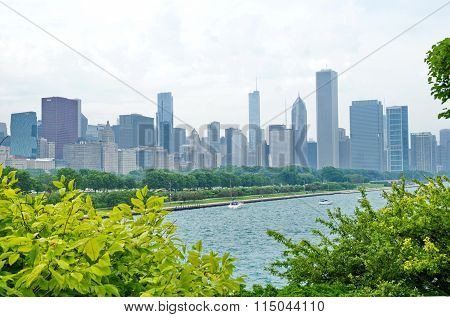 Beautiful Chicago cityscape with skyscrapers and lake Michigan in summer. Sunny day landscape.